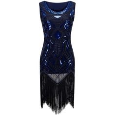 Sequins Fringed Midi Party Dress ($26) ❤ liked on Polyvore featuring dresses, sequin dress, fringe bodycon dress, blue cocktail dress, bodycon dress and bodycon midi dress