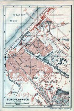 Antique map landkaart plattegrond Scheveningen 1905