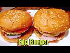 Egg Burger, Burger Buns, Cooking Videos, Food Videos, Burger Recipes, Channel, Beef, Stuffed Peppers, Homemade