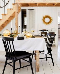 Here are a few ways to liven up those tablescapes and fireplaces with the infamous orange veg. And the best part is, you can cook your decor when you're ready for a new look. #hunkerhome #fall #falldecor #falldecorideas #pumpkindecor Dining Room Table Centerpieces, A Table, Room Chairs, Dining Chairs, Dining Rooms, Dining Room Paint Colors, Spooky Decor, Halloween Decorations, Disney Home