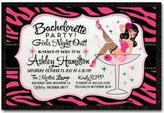 Pink Zebra Stripe Pin-Up Girl Bachelorette Party Invitations. Professionally printed on beautiful metallic paper and artfully hand-mounted onto sparkly black card stock, these retro bachelorette party invitation are truly dazzling in person! The pinup in martini glass can be customize with your hair, eye, skin color!