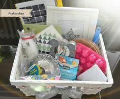 Geschenk zum Einzug in neue Wohnung; Einige praktische Utensilien, die  man immer wieder gut im Haushalt brauchen kann (im Nachhinein haben wir noch Alleskleber, Taschentücher und Batterien hinzugefügt)