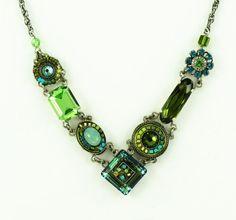Firefly Multi Color Swarovski Crystal Olive Green Necklace Best Price