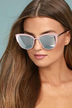 3325cc4516 Your super powers will be in full force with the Quay Super Girl Silver and Pink  Mirrored Cat-Eye Sunglasses!