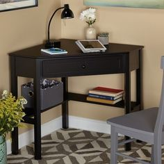 Corner Writing Desk with One Pullout Drawer and Shelf, Made of Sturdy MDF Wood, Fitting Any Home Studio Apartament and Office, Tabletop Destop Space for Display or Laptop, Multiple Finishes Black Corner Computer Desk, Wooden Corner Desk, Small Corner Desk, Corner Writing Desk, Desks For Small Spaces, Black Desk, Small Apartments, Black Wood, Writing Table