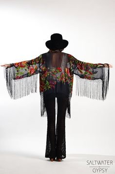 Black Floral Velvet Burnout Gypsy Fringe Beaded Kimono Jacket