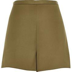 River Island Khaki smart high waisted shorts ($40) ❤ liked on Polyvore featuring shorts, khaki, smart shorts, women, high waisted shorts, high rise shorts, woven shorts, khaki shorts and satin shorts