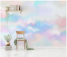Abstract Rainbow Colorful Clouds Wallpaper, Hand Painted Creative Beautiful Clouds Wall Mural Wall D Cloud Wallpaper, Custom Wallpaper, Photo Wallpaper, Painting Wallpaper, Adhesive Wallpaper, Colorful Wallpaper, Murs Pastel, Pastel Walls, Colorful Clouds