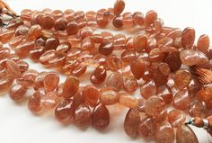 SunStone Plain Pear Beads Sunstone Pear by gemsforjewels on Etsy