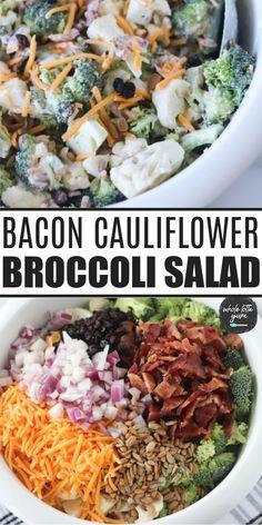 Brocolli Cauliflower Salad, Healthy Broccoli Salad, Broccoli Recipes, Healthy Salad Recipes, Veggie Recipes, Dinner Recipes, Paleo Recipes, Broccoli Salad With Cranberries, Bacon Salad