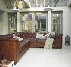 Halo Barbican leather corner sofa