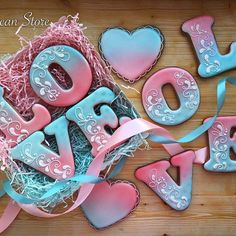Cute airbrushed cookies Valentines Day Cookies, Valentine Cookies, Easter Cookies, Holiday Cookies, Cute Cookies, Cupcake Cookies, Heart Cookies, Airbrush Cake, Valentine's Day Sugar Cookies