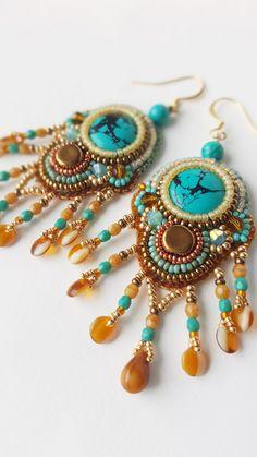 """RESERVE boucles d'oreille brodés, turquoises, cristal de Bohème, swarovski, ethnique chic"""" MOONEY FALLS"""""""