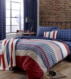 Retro Stars & Stripes Reversible Double Duvet Cover + Pillowcase Bed Set - NEW