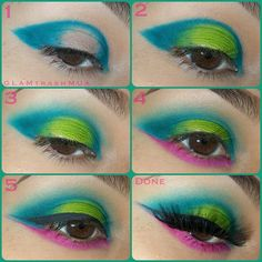 "HYPER COLOR pictorial:  @anastasiabeverlyhills  @anastasiabeverlyhills  1) Apply ""Teal Tornado"" to the inner corner and outer V connecting them in the crease..: 2) Apply ""Mega Watt Green"" to the center lid  3) Blend teal tornado  4) Apply ""In The Pink"" to the bottom lash line and blend, extend it to create a thin wing, right underneath of the teal. 5) Apply liquid eyeliner extend your wind parallel to the bottom pink wing.  Leaving a gap in between for the teal to peek through  FINISH: With…"