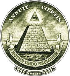 Great seal of the United States illuminati all-seeing eye of horus pyramid and sun symbolism logo