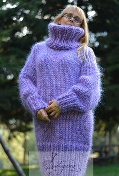 Chunky mohair sweater dress by Dukyana Thick Sweaters, Hand Knitted Sweaters, Mohair Sweater, Wool Sweaters, Mo Hair, Cowl Neck Dress, Winter Wear, Pullover, Hand Knitting