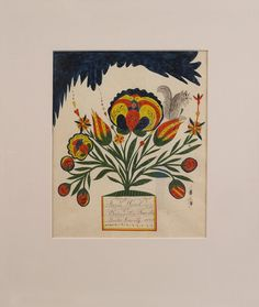 Francis Weisel (Bedminster Township, Bucks County, Pennsylvania, dated 1838), watercolor and ink on paper fraktur drawing of a bold floral tree with a squirrel, 9 1/4'' x 7 3/4''. Exhibition: Mennonite Historical Society, 2004-2005. Provenance: Alderfer Auction 1990, lot 232. Ethel and Lloyd Weisel collection.