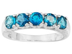 1.50ctw Round London Blue Topaz Sterling Silver 5-stone Ring