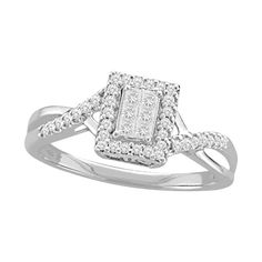 Forever Bride 1/4 Carat T.W. Princess-Cut Diamond Sterling Silver Ring