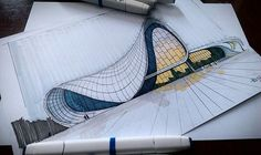 A leading platform for architecture sketchs. mention in your work and we shall publish it if it's good enough. Architecture Sketchbook, Concept Architecture, Amazing Architecture, Interior Architecture, Arquitectos Zaha Hadid, Zaha Hadid Architects, Building Drawing, Building Design, Exterior Design