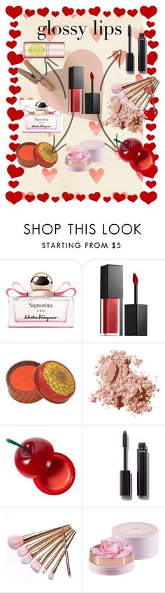 """""""glossy lips in Valentine day <3"""" by carriebradshaw-ii on Polyvore featuring beauty, Salvatore Ferragamo, Smashbox, Bobbi Brown Cosmetics, TONYMOLY and Chanel"""