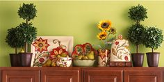 Ideas for Decorating Above Kitchen Cabinets ǀ Pier 1 Imports...think I want to decorate my kitchen like this!!! <3 it!!!