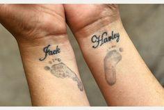 Baby Footprint Tattoos On Side #TattooModels #tattoo