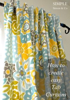 Tab-Top Curtain Tutorial -- tabs are hidden from the front. From Simple Simon & Co.