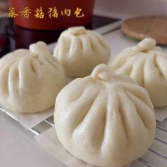 My Mind Patch: Steamed Mushroom Pork Bun 蒸香菇猪肉包 Steam Buns Recipe, Bun Recipe, Chinese Food, Japanese Food, Asian Buns, Steamed Pork Buns, Siopao, Bun Cake, Bao Buns