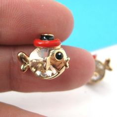 $6 Small Fish Sea Animal Stud Earrings in Gold with Black and Red Hat