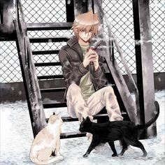 Nikami Yukitaka, Yu-Gi-Oh! Duel Monsters, Yu-Gi-Oh!, Jounouchi Katsuya, White Cat, Black Furred Animal