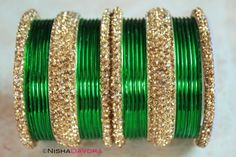 £17 www.NishaDavdra.com 30 pcs Sultan Set: Green 24 green bangles with four citrine and white edge bangles and two wide bangles to match.   Makes a perfect party piece and perfect for mix and matching with other bangles to match your outfit perfectly.  The stones are sparkling.    #Bollywoodstyle #bellydancerjewelry #bangles #bracelets #indianfashion #saree #allthingsblue #royalblue #GREEN #holiday #lehnga #indianbride