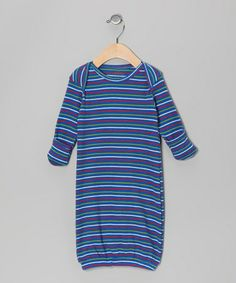 Take a look at this Red, Blue & Green Stripe Thermal Organic Gown by wiggle, giggle, coo on #zulily today!