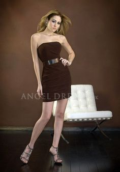 Strapless Sheath/ Column Chiffon Natural Waist Short Length With Sash/ Ribbon Evening Dress
