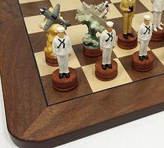 "World War 2 US vs Japan Pearl Harbor Chess Set W/ 17"" Walnut & Maple Veneer Board WW2"