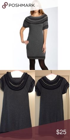 BCBG Fair Isle Boatneck Sweater Dress Great condition fair isle sweater dress from BCBG Max Azria in versatile charcoal gray. Looks adorable with tights and boots. Excellent for fall! BCBGMaxAzria Dresses Mini