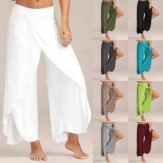 Comprar Women Fashion Casual High Slit Flowy Layered Palazzo Pants Loose Wide Leg Pants OTDR em Wish - Comprar ficou mais divertido Wide Leg Yoga Pants, Wide Leg Trousers, Trousers Women, Pants For Women, Yoga Trousers, Jeans Women, Romper Pants, Skirt Pants, Harem Pants