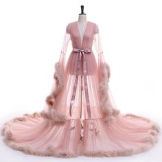 New Arrival Sexy see though V Neck Evening Dress long robes with fur prom dresses 2017 vestidos de noche plus size custom color Pink Prom Dresses, Formal Dresses, Formal Prom, Fancy Robes, Boudoir, Cooler Look, Bridal Robes, Sexy, Pakistani Dresses