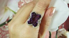Amethyst and seed pearl antique ring by David Klass Jewelry.
