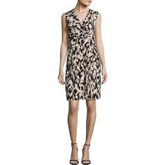 Ellen Tracy Women's Twist Front Dress ($100) ❤ liked on Polyvore featuring dresses, neutral, faux wrap dress, ellen tracy, abstract print dress, sleeveless dress and no sleeve dress