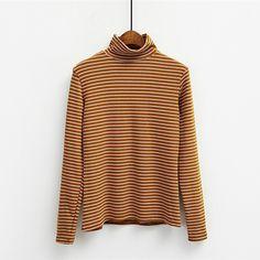 韩版学院风高领百搭长袖修身T恤女 经典细条纹紧身纯棉打底衫