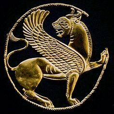 """Persian Roundel  Achaemenid Period  Reign of Artaxerxes II, ca. 404-359 B.C.  This snarling winged lion worked in gold repoussé attests to the exceptional skill of Achaemenid goldsmiths. The back of the horned feline's body and the slender twisted cord that surrounds it bear sixteen tiny loops for attachment to a garment or textile. Greek writers often speak of the tremendous wealth of the Persians, and Herodotus writes that King Xerxes' troops """"were adorned with the greatest magnificenc..."""