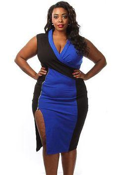 $17.15 Navy Black Colorblock Side Slit Curvy Midi Dress https://www.modeshe.com #modeshe @modeshe #AsShown