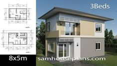 House Plans Idea with 3 Bedrooms - Sam House Plans Two Storey House Plans, 2 Storey House Design, Small House Floor Plans, Sims House Plans, House Layout Plans, Small House Design, Modern House Plans, House Layouts, Modern House Design