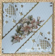 Meer dan 1000 afbeeldingen over Die Cuts - Dancing Tulips . Wedding Anniversary Cards, Wedding Cards, Marianne Design Cards, Spellbinders Cards, Embossed Cards, 3d Cards, 3d Prints, Pretty Cards, Sympathy Cards