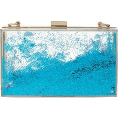 SKINNY DIP Liquid glitter clutch ($68) ❤ liked on Polyvore featuring bags, handbags, clutches, blue, shoulder strap purses, blue purse, glitter handbags, glitter purse and clasp purse