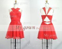 Bridesmaid dress, prom dress, Red Short Dress, Cocktail dress