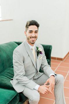 Orange County Wedding Shoot At Ole Hanson Beach Club Groom Light Grey Suit With Matching Vest