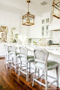Gray Leather Kitchen Stools White With Marble And Polished Brass Lantern Lights Soothing